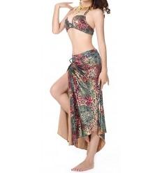 Traje dos piezas Leopardo Rosa y Verde Belly Dance