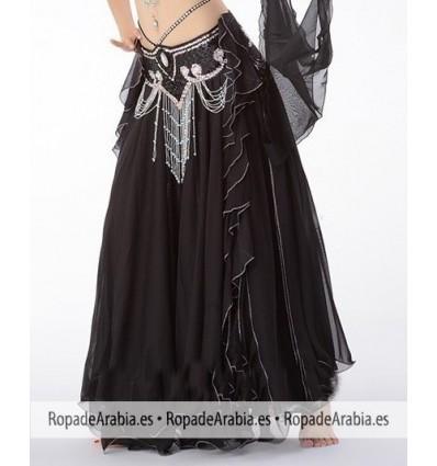 Falda de doble capa con volantes laterales