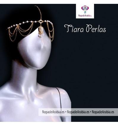 Tiara con perlas y cadenitas