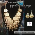 Conjunto de Collar y Pendientes con Monedas Grandes y Pequeñas