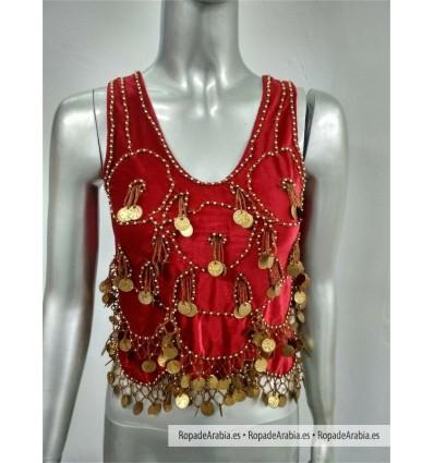 Top Egipcio de Terciopelo Rojo/oro