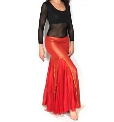 Falda con Quillas en tela metalizada y gasa