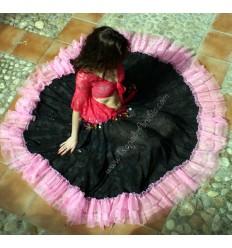Falda Gitana Traslucida con Banda Color Rosa