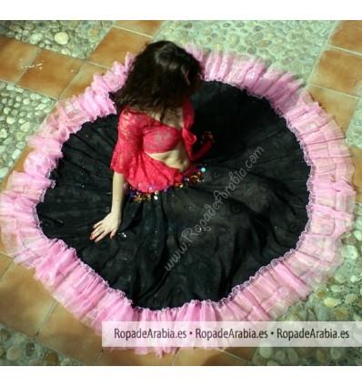 Falda Gitana Traslucida con Banda Color